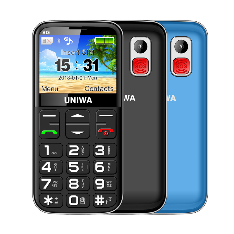 UNIWA V808G Old Man Mobile Phone 3G SOS Button 1400mAh 2.31 Curved Screen Cellphone Flashlight Torch Cell Phone For ElderlyUNIWA V808G Old Man Mobile Phone 3G SOS Button 1400mAh 2.31 Curved Screen Cellphone Flashlight Torch Cell Phone For Elderly
