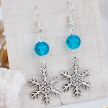 Doreen Box Handmade Earrings Antique Silver Green Blue Acrylic Christmas Snowflake 56mm(2 2/8″) x 19mm( 6/8″), 1 Pair