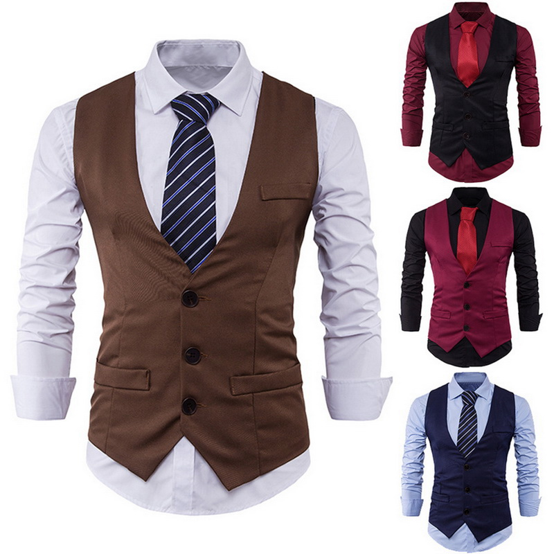 Brand Suit Vest Men Waistcoat 2018 Spring Slim Fit Business Suit Dress Vest Male Leisure Vintage Mens Clothing High Quality