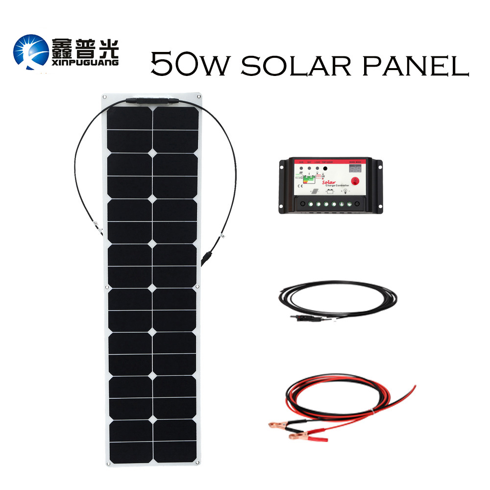 XINPUGUANG 50w 18V ETFE efficient flexible solar panel solar cell power generation system for car RV yacht 12v battery charger image