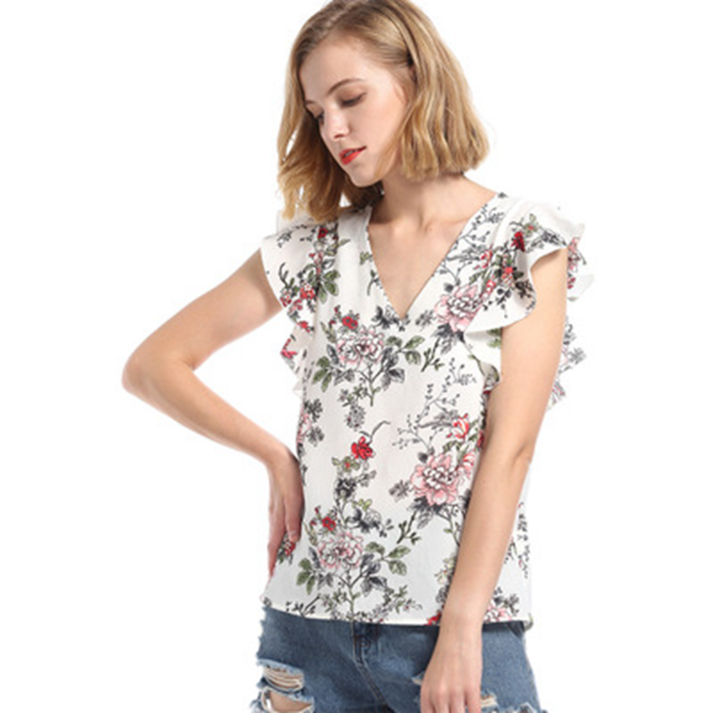 Women Sweet Ruffles Floral Print Shirts Short Sleeve White Elegant Blouse Ladies Casual European Style Tops Camiseta Mujer