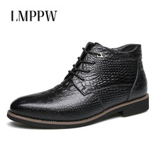 купить New 2018 Winter Men's Boots Plus Cotton Warm Snow Boots High Quality Lace Up Genuine Leather Ankle Boots for Men Casual Shoes 8 по цене 2455.13 рублей