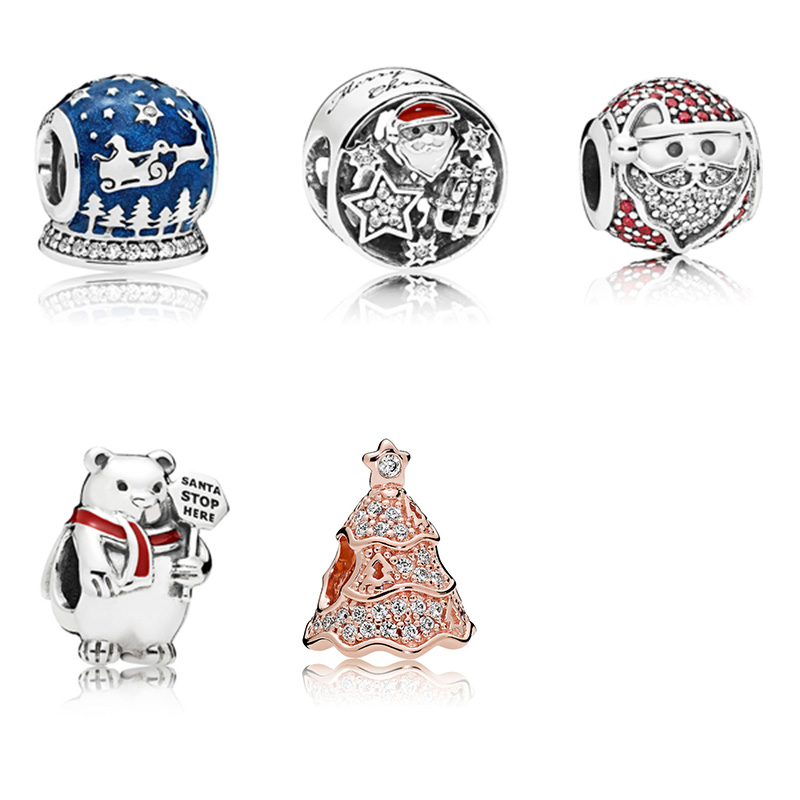 Sterling Silver 925 Charm Beads Christmas Santa Claus Crystal Bead For Original Pandora Bracelet Bangle DIY Women Jewelry