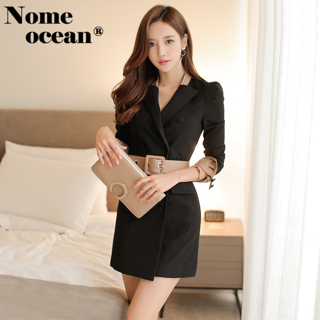 Double Breasted Suit Dresses Belted Waist Color Block Cuffs Blazer
