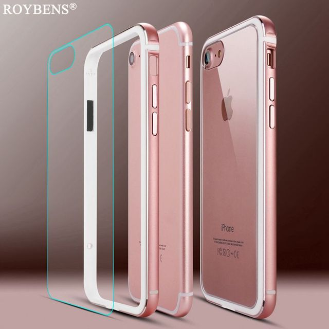 custodia per iphone 7 metal aluminum frame rosa oro