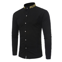 Men Long Sleeve Shirt Camisa Masculin Embroidery Neck Slim Fit Casual Turn Down Collar Male Fashion Shirts Clothing