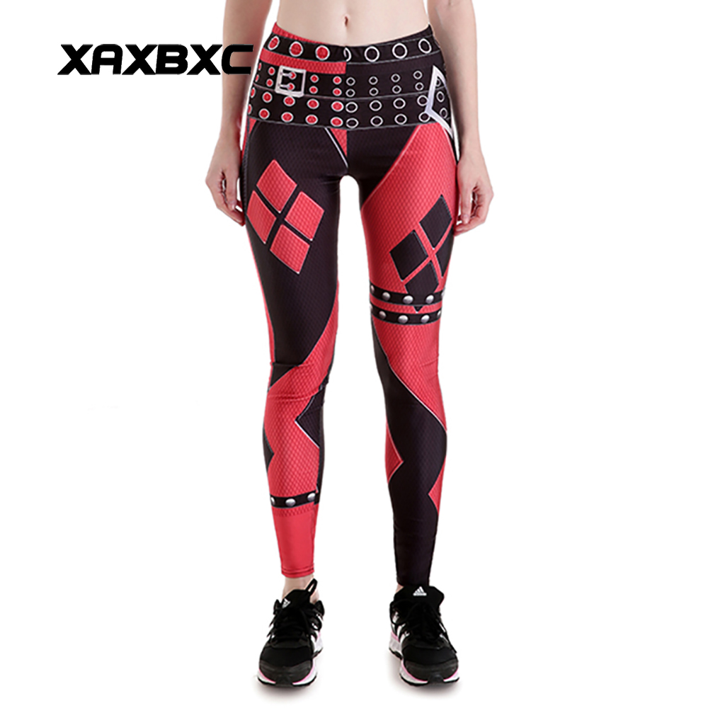 New 3848 Sexy Girl Chains Batman Harley Quinn Cospaly Printed Elastic Slim Fitness Workout Women Leggings Pants Plus Size