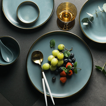 KINGLANG NEW Blue Golden Ceramic Plates Household Dishes Sauce Rice Bowls Soup Noodles Dinner Plate Steak Western Food Tableware