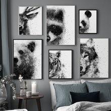 Orso Lupo Deer Panda Tigre Procione Animale di Arte Della Parete della Tela di Canapa Pittura Nordic Poster e Stampe di Immagini A Parete Per Soggiorno decor