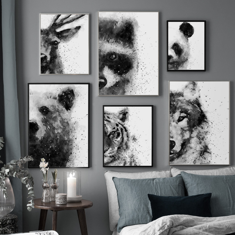 Canvas Painting Wall-Pictures Raccoon Deer Nordic Posters Living-Room-Decor Tiger Bear-Wolf title=