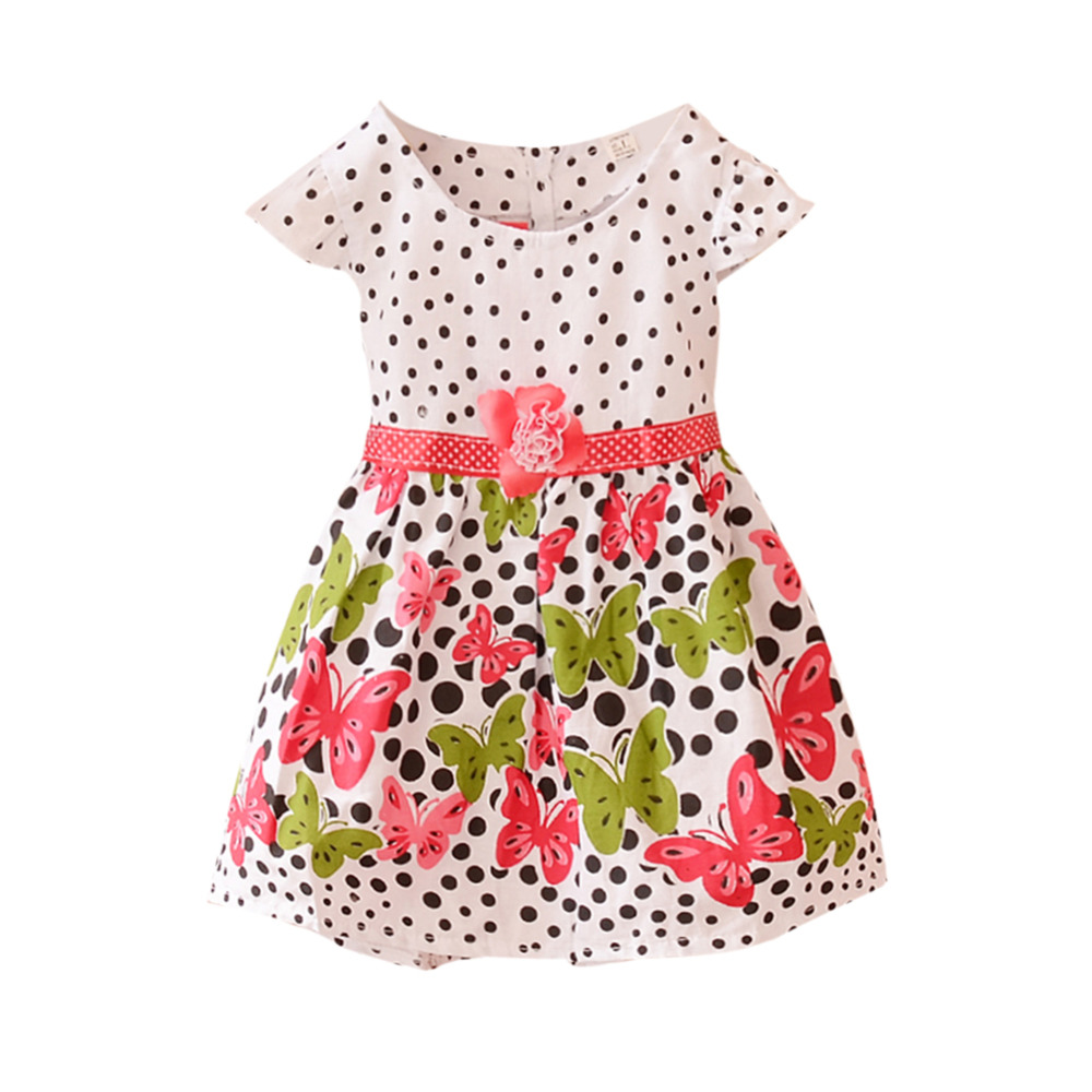 Baby Girls Dress Summer Fashion Kids Butterfly Printed Flower Polka Dots Princess One-piece Dress xmas red white polka dots one piece petti dress kelly green posh feather