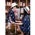 SL-86 Семья Соответствия Платье Вышитые Шифон Рубашка с Камзол Одежда наборы для Матери и Детей Дети Платья Одежда