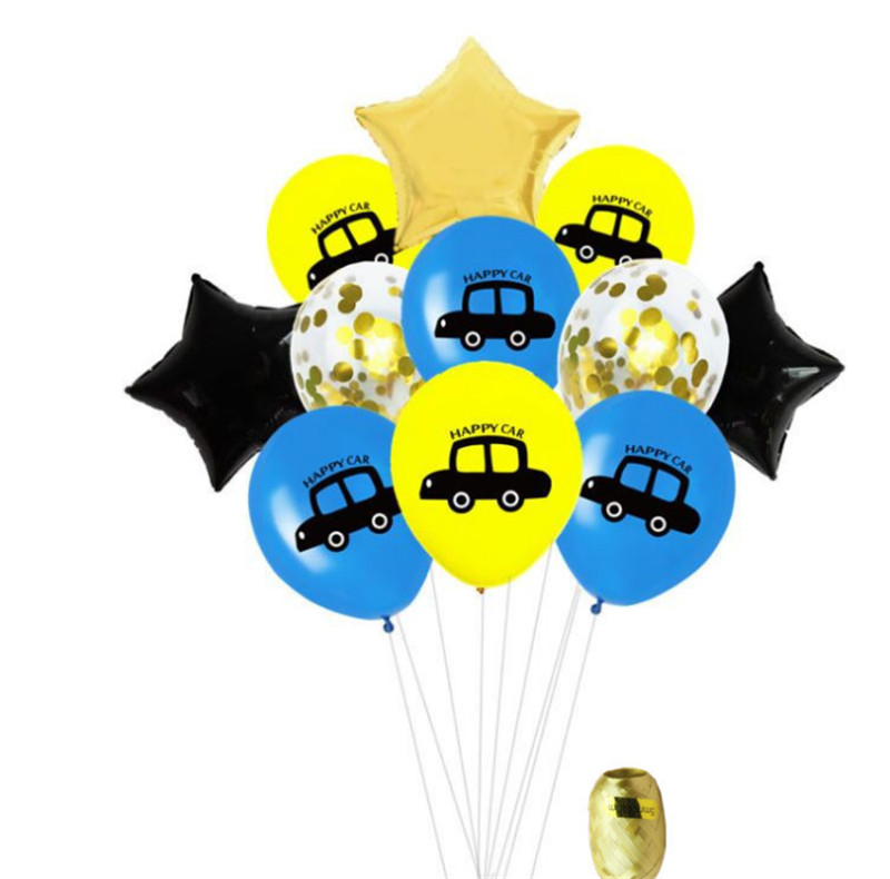 Taoqueen Cartoon Hat  Car Balloons Multicolor Confetti Balloon Wedding Ballons Birthday Party Decoration
