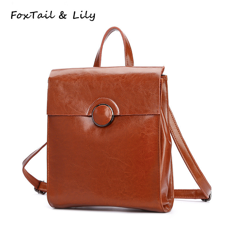 FoxTail Lily Brand Genuine Leather Backpack Women Korean School Backpacks for Teenage Girls Fashion Shoulder Bag