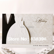 HOT 50pcs White Lovers-style clothes Wedding Invitations Cards With Customize Printing Wholesale Free Shipping