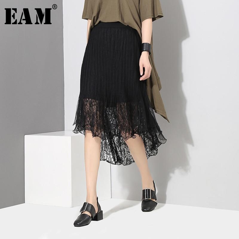 [EAM]2018 New Summer High Elastic Waist Black Lace Irregular Split Joint Loose Half-body Skirt Women Fashion All-match JF875