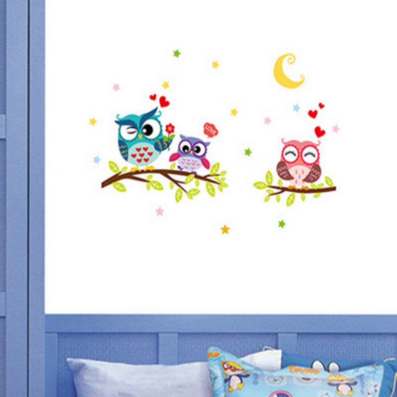 Night owl wall sticker for kids room diy cartoon pegatinas for Decoration autocollant mural