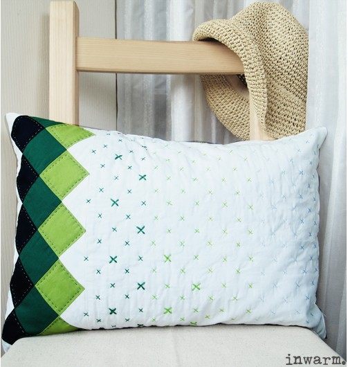 Us 53 5 Free Shipping Cushion Cover Green Patchwork Quilting Handmade Sofa Cotton Creative Modern Home Decoration In Cushion Cover From Home