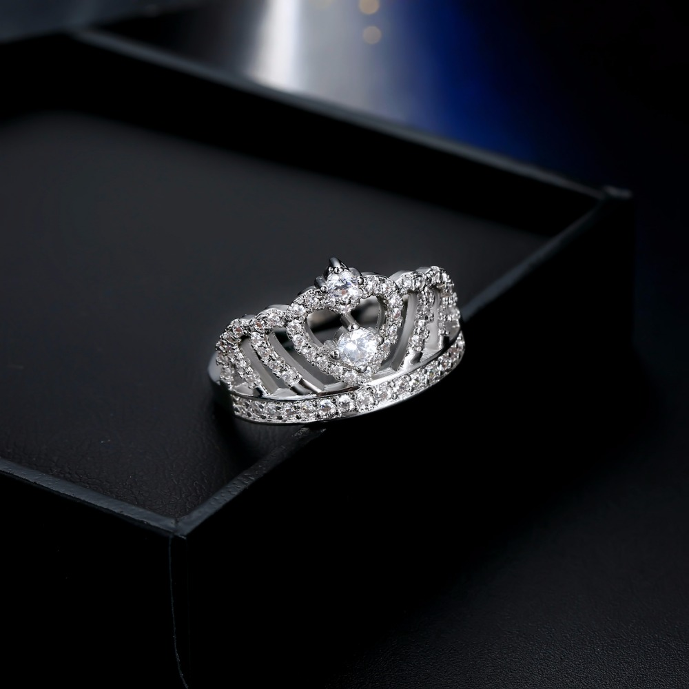 Fashion Silver Rings Crystal Heart Rings Women's Crown Zircon Ring Jewelry Women's Engagement Party Wholesale 4