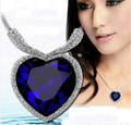 New 2015 Fashion retro big heart blue pendants baroque gem vintage chain necklaces women jewelry pendant long necklace
