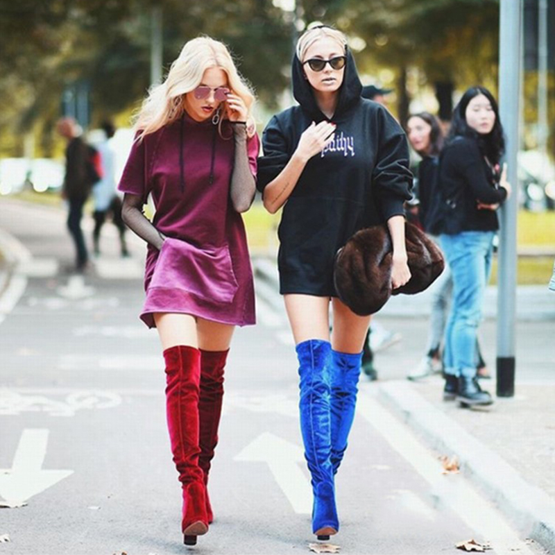 ФОТО Blue Grey Velvet Boots High Boot Over the Knee Thight Boots for Women Square Heel Fashion Long Boots blau bottes femmes botas