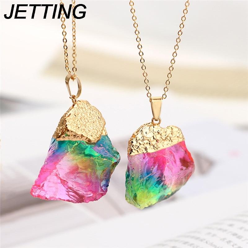 Natural Stone Rainbow Rose Necklace Chakra Karst Cave Quartz Crystal Chain Pendant Raw S ...