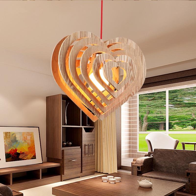Moderne simple en forme de coeur en bois art pendentif lumières moderne salon chambre LED droplight café bar décoration éclairage - 6