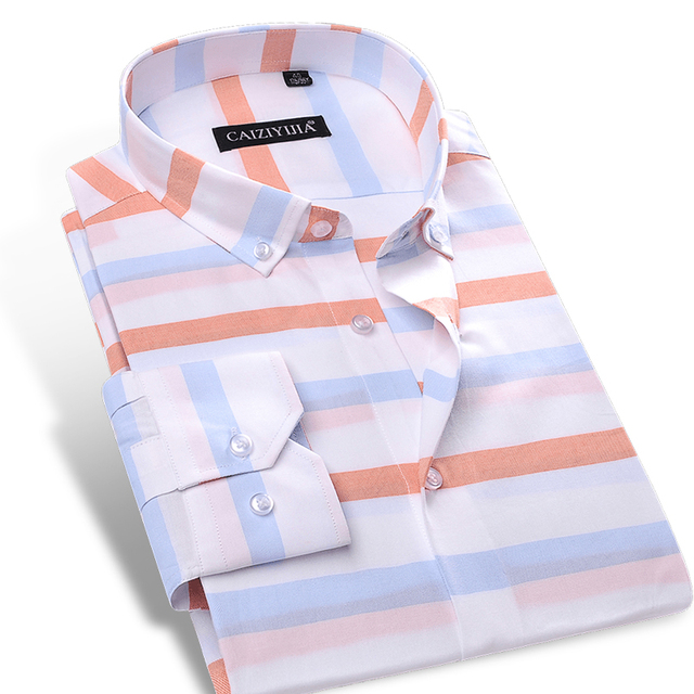 e04a0090e26c Men's Contrast Wide Horizontal Striped Dress Shirt Comfort Soft 100% Pure  Cotton Casual Slim-fit Long Sleeved Button-down Shirts
