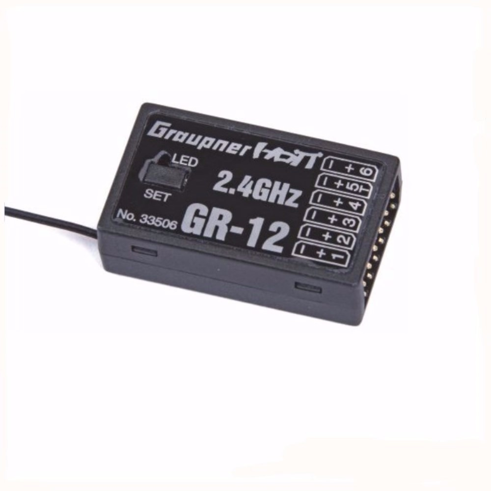 Graupner HoTT GR-12 2.4GHz 6-Channel Receiver for RC Transmitter Remote Control Parts graupner mz 12 radio controller rc transmitter 2 4ghz 6 ch remote control system with gr 18 receiver for rc airplane helicopter