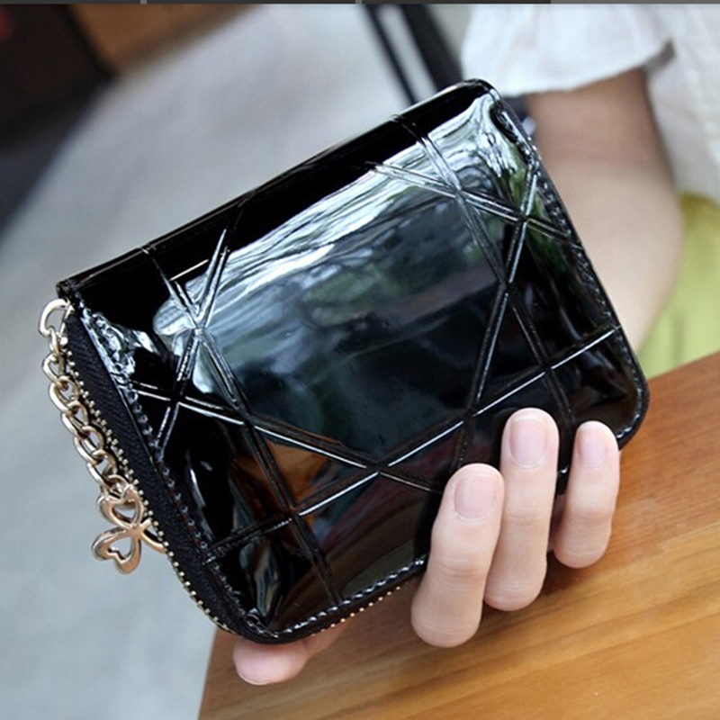 Patent Black Womens Wallets Female Small Wallet Mini Zipper Wallet for Women Short Ladies Coin Purse Clutch Girl Money Bag 2018 patent leather women short wallets ladies small plaid wallet zipper coin purse female credit card wallet purses money bag 40