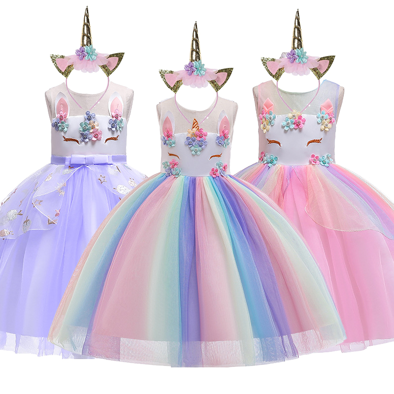Unicorn Dress for Girls Tutu Rainbow Princess Toddler Dresses Kids Party Dress Baby Girl Christmas Halloween Cosplay Costume