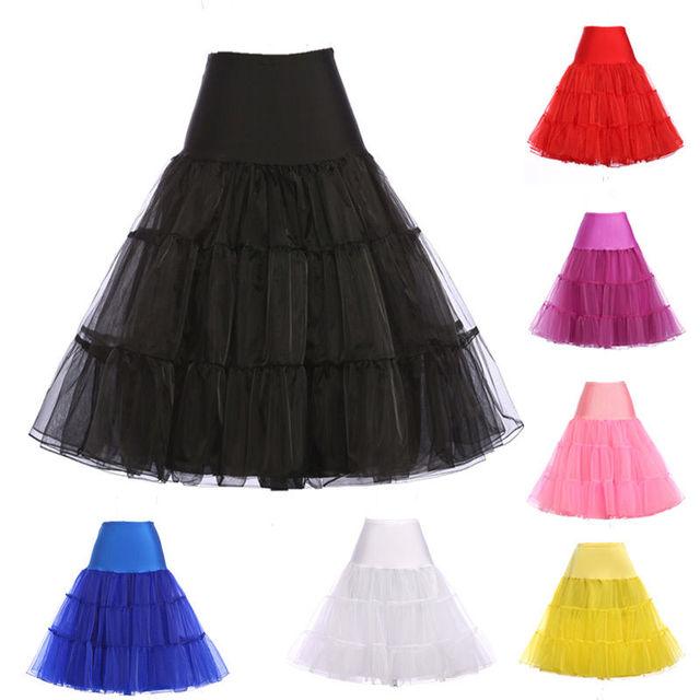 Vintage Petticoats Black White 7 Colors Swing Short Rockabilly Underskirt Retro Dress Tutu Crinoline Bridal Wedding Petticoat