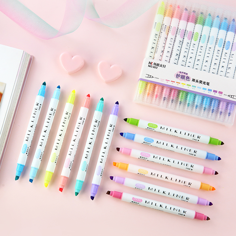 JIANWU 12pcs/set Cute Double Head Fluorescent Pen Milkliner Highlighters Color Marker Pen School Supplies Kawaii