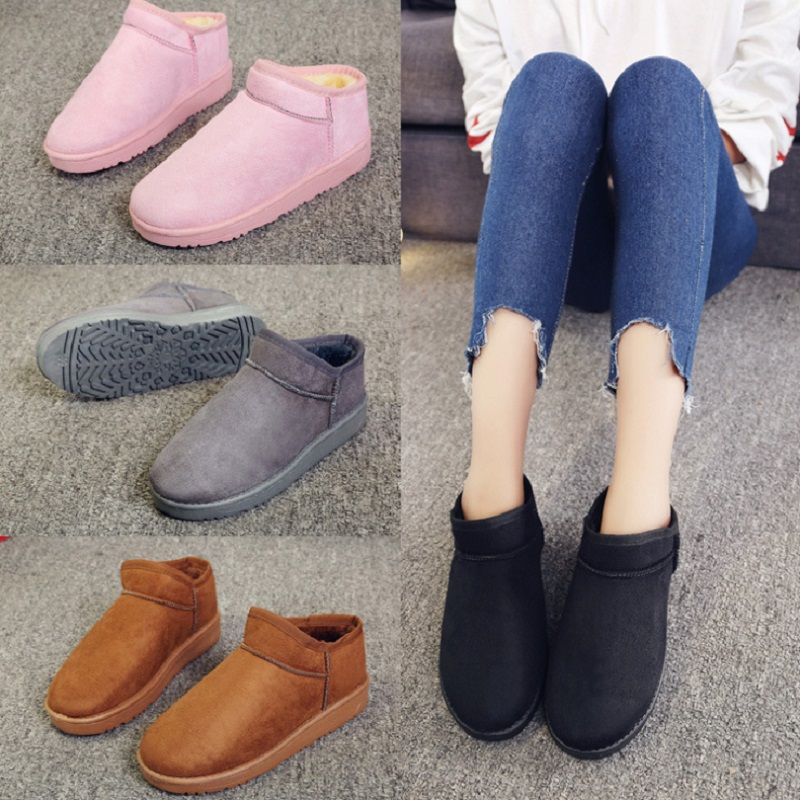 QICIUS Winter Shoes Warm Plush Snow Boots Women Round Toe Solid Slip-on Ankle Boots For Women zapatos mujer Femmes B0004 warm women winter boots women ankle snow boots cowhide sweet flowers round the end of short barrels bread shoes mianxie