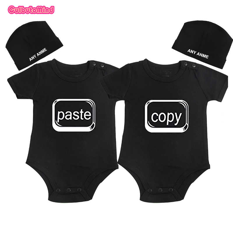 b023931af Culbutomind Copy Paste Print Newborn Twins Baby Clothes Outfit Romper Twins  Boys Girls Clothing Matching Set with Custom Beanie