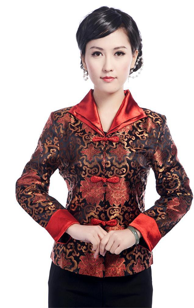 black green red Chinese Silk//satim Women/'s embroidery Jacket//Coat sz:8-18.