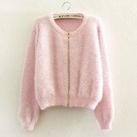 2016 New Spring Zipper Sweater Cardigan Feminino Female Casual Knitted Mohair Cardigans Women Sweaters Coat Knitwear