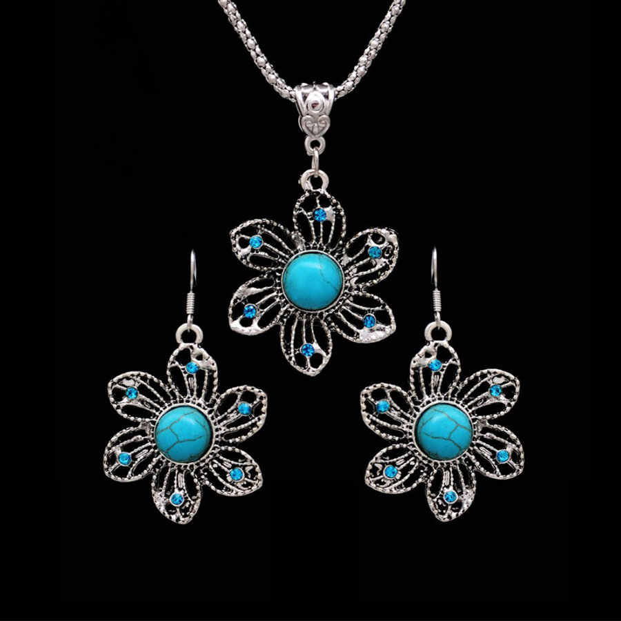 Bohemian Flower Jewelry Sets for Women valentines day gift Fashion Crystal Necklace Earrings Party Indian African Jewelry Sets