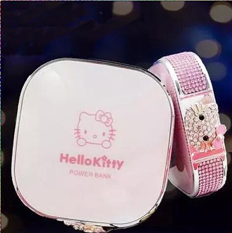 12000 mAH uso de Señora girl Hello Kitty dibujos animados MD banco de la energía para todo el teléfono móvil con el diamante de cristal