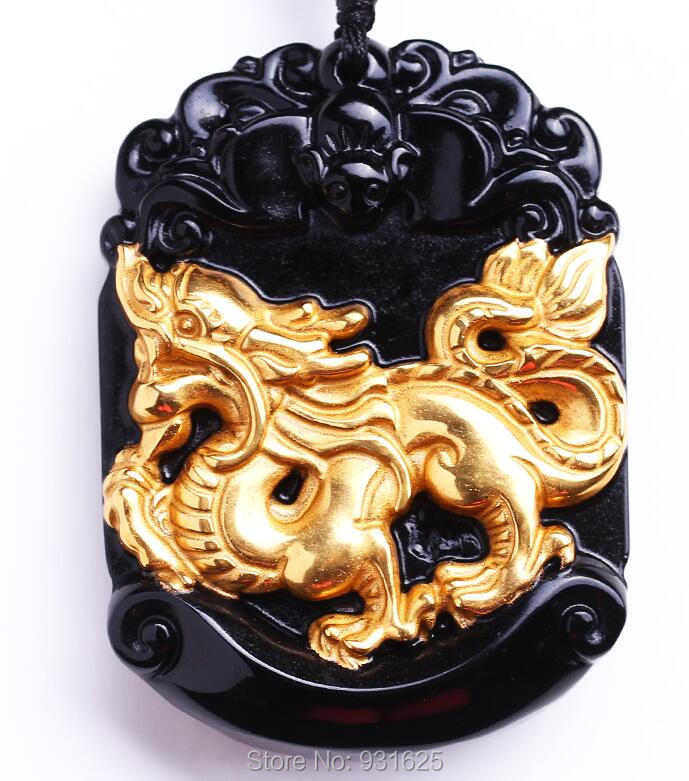 US $39 9 |Beautiful Natural Black Obsidian Carved Gold Chinese Zodiac  Dragon Lucky Amulet Pendant + free Necklace fashion Jewelry-in Pendants  from