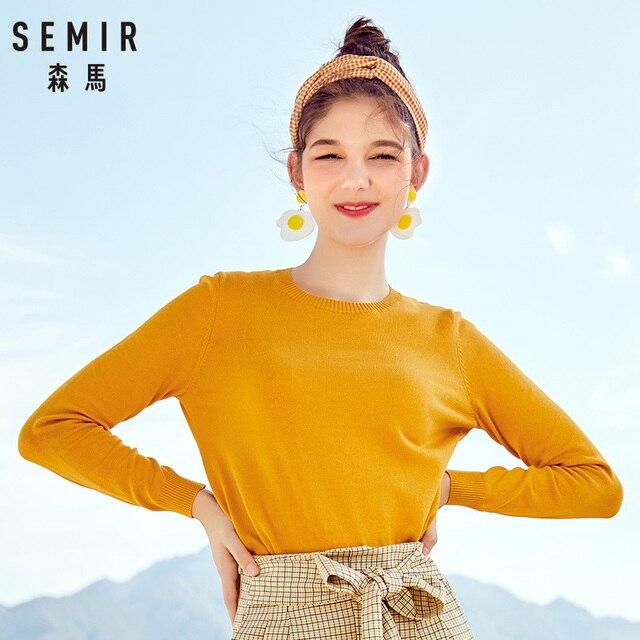 SEMIR 2018 Cashmere Dệt Kim Áo Len Phụ Nữ Chui Đầu Cao Cổ Mùa Thu Mùa Đông Phụ Nữ Cơ Bản Áo Len Hàn Quốc Phong Cách Mỏng Phù Hợp Với Màu Đen