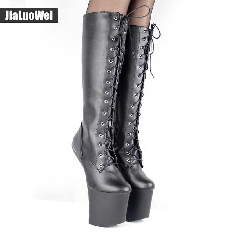 Jialuowei 20 cm Yüksek Topuk Platform Çizmeler Tırnak Taban Heelless Seksi dantel-up Fetiş Punk Goth Pinup Diz yüksek Çizmeler Boyutu 36-46