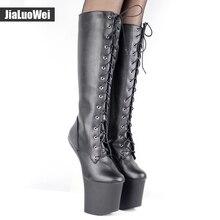 jialuowei 20cm High heel Ballet Boots Hoof Sole Heelless Sexy Fetish 9cm Platform Punk Goth Pinup Pointe Knee-high