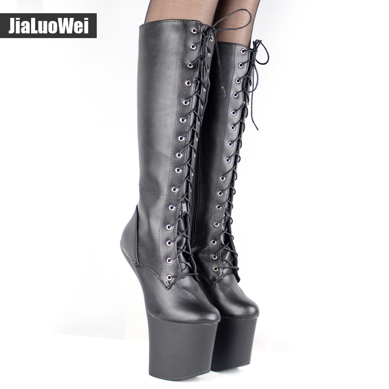 jialuowei 20cm High heel Ballet Boots Hoof Sole Heelless Sexy Fetish 9cm Platform Punk Goth Pinup Ballet Pointe Knee-high Boots jialuowei extreme 20cm high heel lace up fetish sexy heelless horse stallion hoof sole over the knee boots thigh high boots