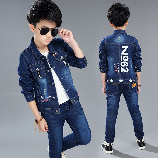 2018 new children's clothing boy spring cowboy spring and autumn child boy clothes two suit tide