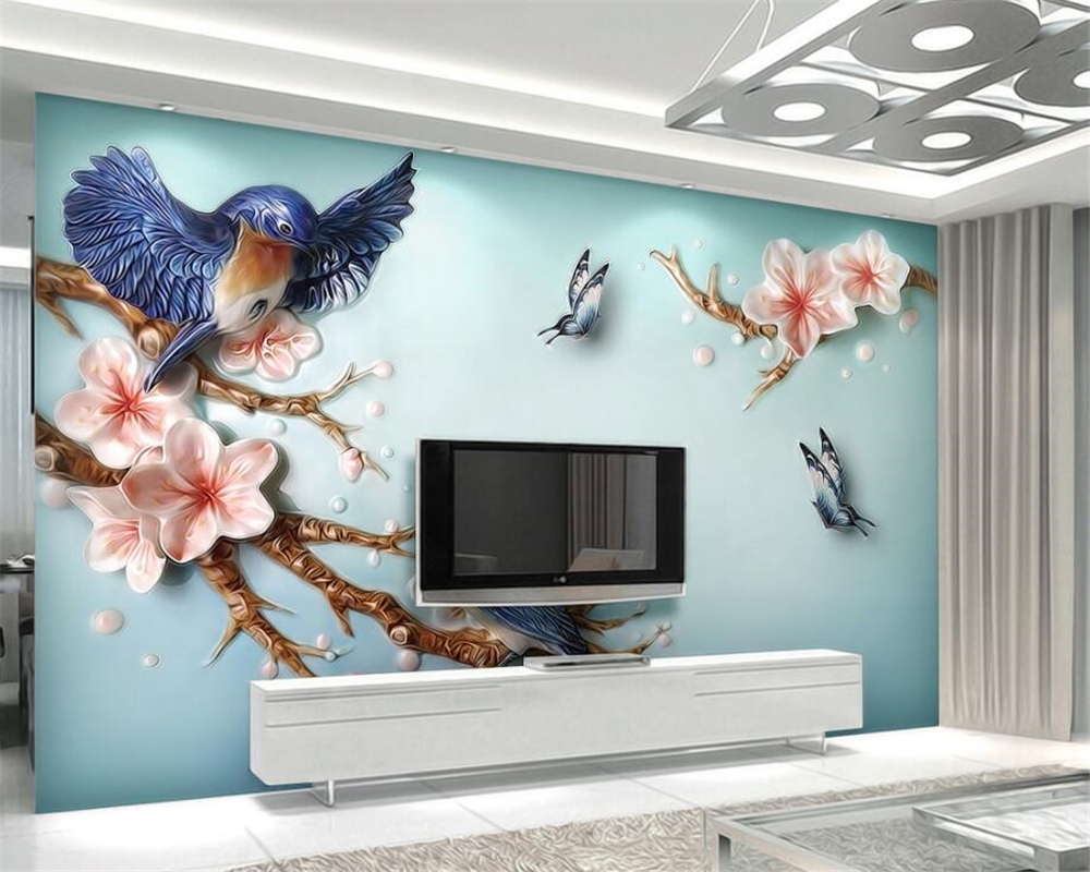Beibehang Custom 3D Photo Wallpaper flower and Bird Embossed 3D mural Painting Living Room Background 3D Wallpaper Modern behang book knowledge power channel creative 3d large mural wallpaper 3d bedroom living room tv backdrop painting wallpaper