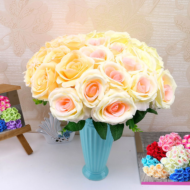 valentine\'s day 10 Head French real touch silk rose flower bouquet ...
