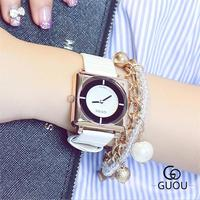 GUOU Offical Fashion Wrist Watches Leather Strap Simple Watch Women Watches Clock Saat Montre Femme Relogio