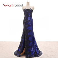 Vivian S Bridal Side Split Mermaid Evening Dress Sweetheart Black Sequin Lace Formal Evening Gown ED35010