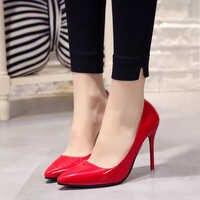 Talla grande 34-44 Zapatos de Mujer Zapatos de punta puntiaguda vestido de charol tacones altos barco boda Zapatos Mujer azul Rojo de vino